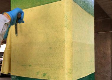 柱のアラミド繊維(フィブラシート)補強
